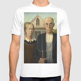 American Gothic Oil Painting by Grant Wood T-shirt