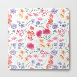 Bright flowers on a white background. Metal Print