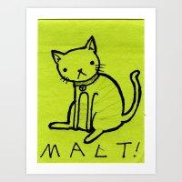 Malt on a Post it note Art Print