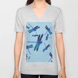 BLUE DRAGONFLY SEASON ART DESIGN  ART Unisex V-Neck