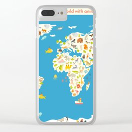 Map of the World with animals. Beautiful colorful vector illustration. Clear iPhone Case