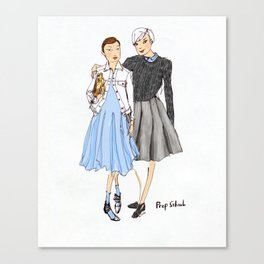 Prep School Girls fashion illustration  Canvas Print
