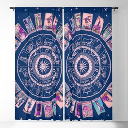 Major Arcana & Wheel of the Zodiac | Pastel Goth Blackout Curtain