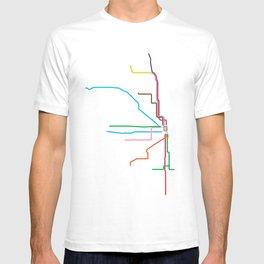 Chicago CTA Map, Chicago Train Map Art, Chicago L Train Map, Chicago Art, Chicago Wall Art, Map Art T-shirt
