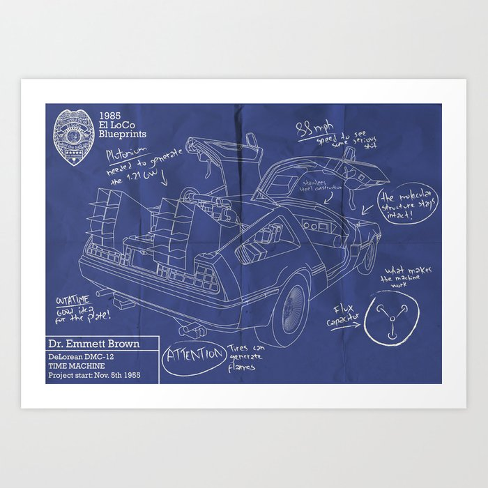 Time machine blueprint art print by elloco society6 time machine blueprint art print malvernweather Gallery
