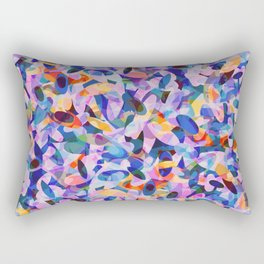 Multicolour Watercolor Spring Abstract, Ocean Blue on Orange, Lavender, Pink Oval Circle Geo Pattern Rectangular Pillow