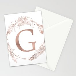 Letter G Rose Gold Pink Initial Monogram Stationery Cards