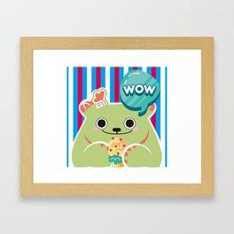 Ice Cream Cactus Ball Framed Art Print