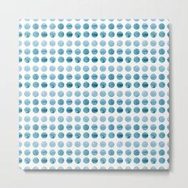 Blue Wave Circle Metal Print