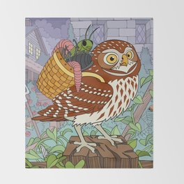 Little Owl with Packed Basket Throw Blanket