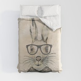 Cute funny watercolor bunny with glasses and scarf hand paint Comforters