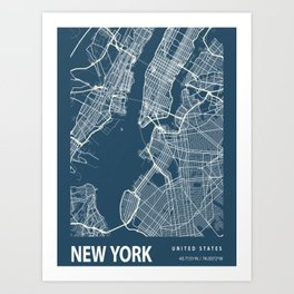 Map of New York Art Print