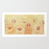 sloths Art Prints featuring Sloths by Campnath