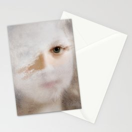 Girl behind a frozen window II Stationery Cards