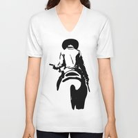 cowboy V-neck T-shirts featuring Cowboy by Natalia Elina