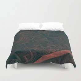 Detroit Map Red Duvet Cover