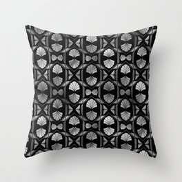 Scallop Shells in Black and Silver Art Deco Vintage Foil Pattern Throw Pillow