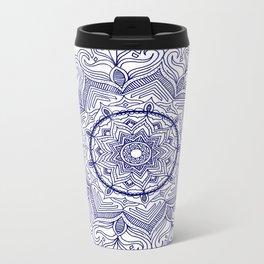 Blue Flower Mandala Metal Travel Mug