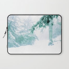 Emerald forest in blizzard and snow Laptop Sleeve