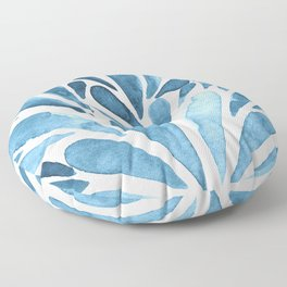 Watercolor artistic drops - blue Floor Pillow