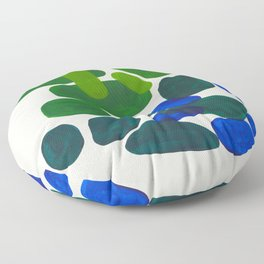 Minimalist Modern Mid Century Colorful Abstract Shapes Phthalo Blue Lime Green Gradient Overlapping Floor Pillow