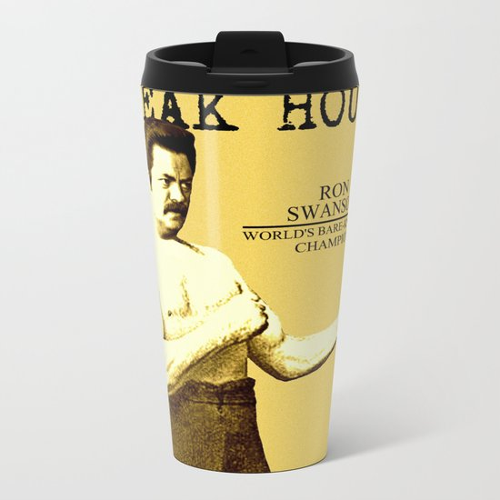 Ron Swanson  |  Steak House Parody |  Parks and Recreation Metal Travel Mug