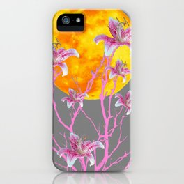 GREY PINK ASIATIC STAR LILIES MOON FANTASY iPhone Case