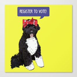 Political Pup - Regiser to Vote Canvas Print
