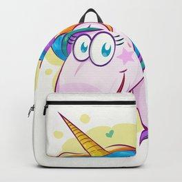 unicorn face cartoon on background Backpack