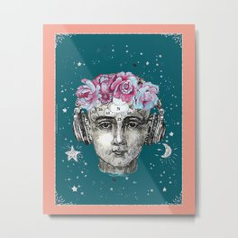 Phrenology head with headphones and flowers. Metal Print