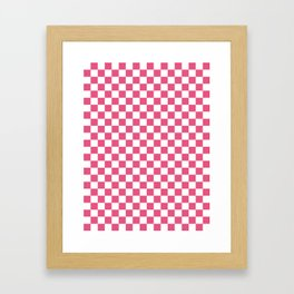 Small Checkered - White and Dark Pink Framed Art Print