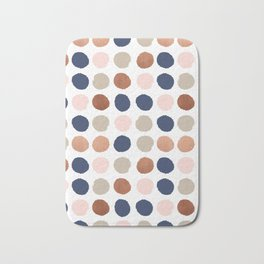 Rose Gold navy copper sparkle modern dots polka dots rosegold trendy pattern cell phone accessories Bath Mat