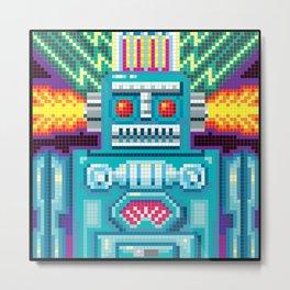 Pixel Robot Metal Print