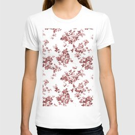 Shabby vintage coral burgundy brown roses floral T-shirt