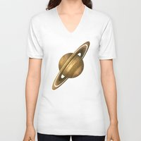 saturn V-neck T-shirts featuring Saturn by Terry Fan