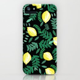 Random watercolour lemon and leaf pattern on black iPhone Case