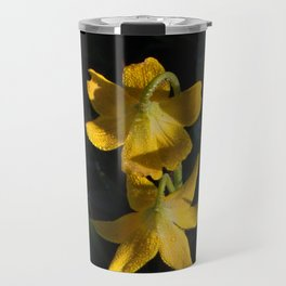 Dew drops on Yellow Glacier Lilies in Glacier National Park Montana Early Morning Travel Mug