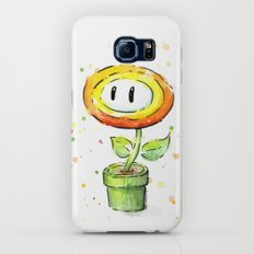 Fire Flower Watercolor Painting Mario Game Geek Art Galaxy S6 Slim Case