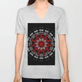 Bright Red Silver Star Flower Mandala Unisex V-Neck