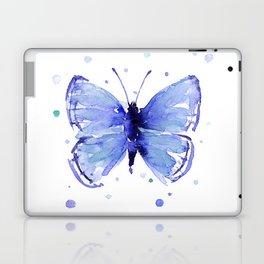 Dark Blue Butterfly Watercolor Laptop & iPad Skin