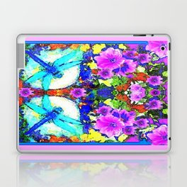 Blue Zinger Dragonflies Violets Abstract Laptop & iPad Skin