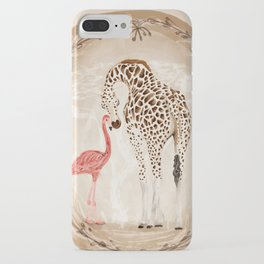 Precious Love Giraffe and Flamingo Watercolor Painting , Unlikely Lovers Hope iPhone Case