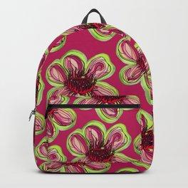 Geraldton Wax Flowers on dark pink Backpack