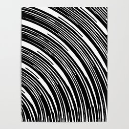 black and white curly line pattern abstract Poster