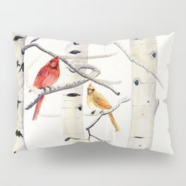 Birch Trees and Cardinal Pillow Sham