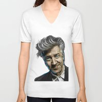 lynch V-neck T-shirts featuring DAVID LYNCH by AMBIDEXTROUS™