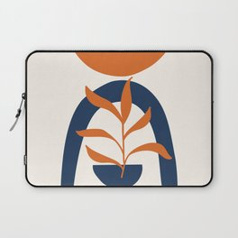 Abstract Shapes 58 in Burnt Orange and Navy Blue (Sun, Rainbow and Plant Abstraction) Laptop Sleeve