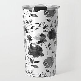 Watercolor black Flowers Travel Mug