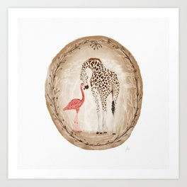 Precious Love Giraffe and Flamingo Watercolor Painting , Unlikely Lovers Hope Art Print