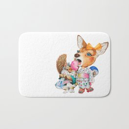 A child deer and squirrel at the summer festival Bath Mat